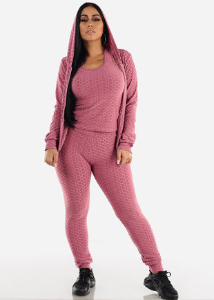 Anti Cellulite Mauve Top Jacket & Leggings  (3 PCE SET)