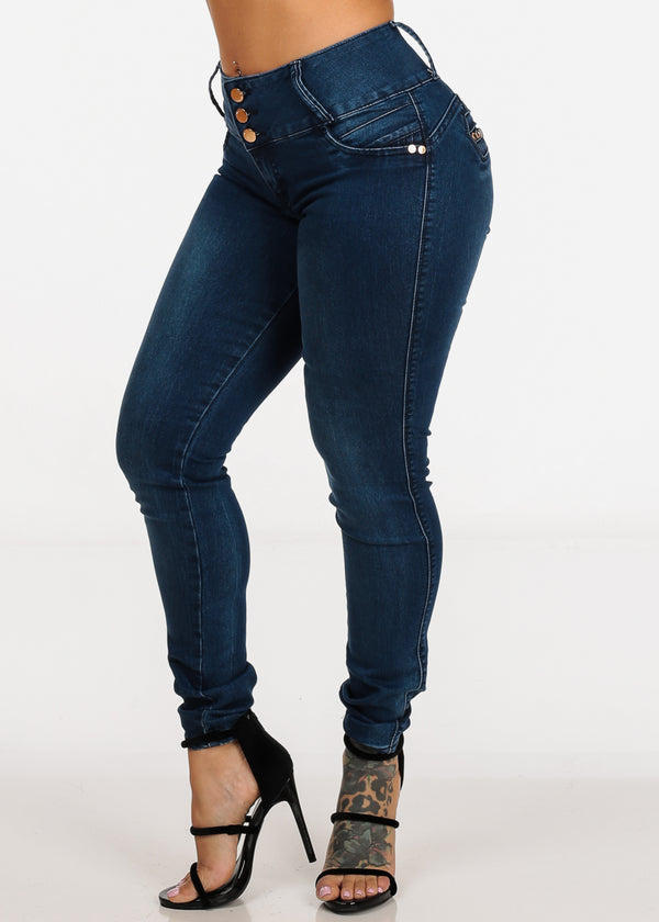 Mid Rise Levanta Cola Med Wash Skinny Jeans