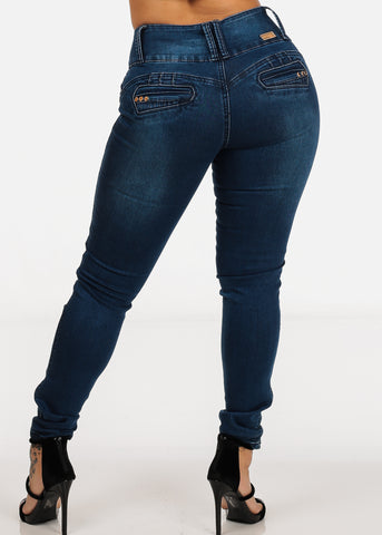 Image of Mid Rise Three Button Closure Med Wash Levanta Cola Butt Lifting Skinny Jeans