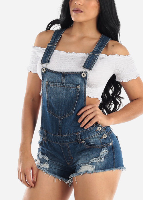 Dark Wash Torn Denim Short Overall