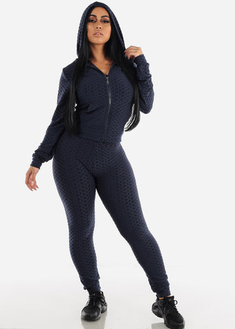 Image of Anti Cellulite Navy Top Jacket & Leggings  (3 PCE SET)