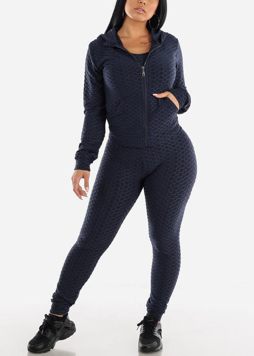 Anti Cellulite Navy Top Jacket & Leggings  (3 PCE SET)