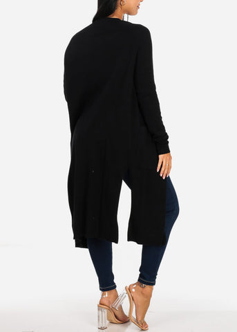 Image of Cozy Open Front Black Maxi Cardigan