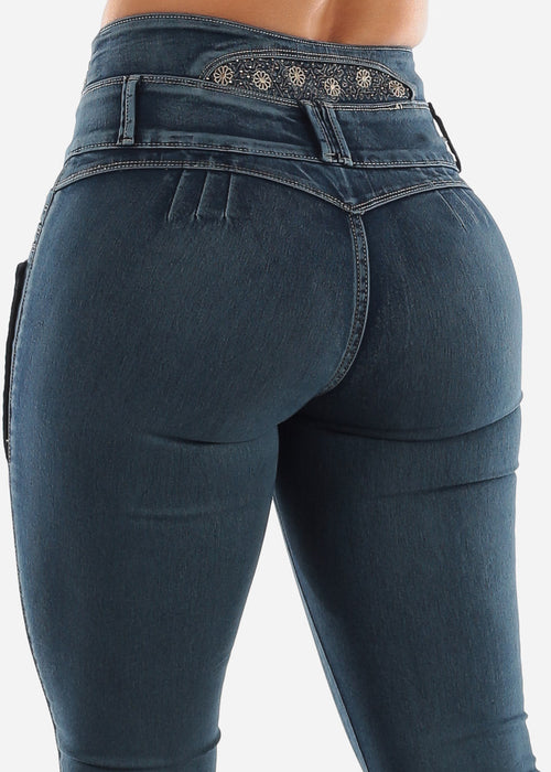 Embroidered Back Butt Lift Jeans