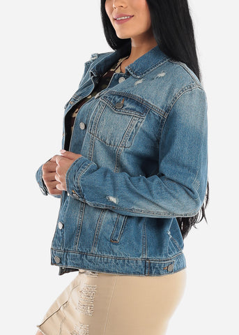 Torn Dark Wash Denim Jacket