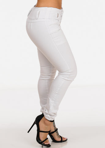 White 4 Button Closure Push Up Levanta Cola colombian Design Jeans