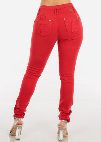 Image of High Rise Butt Lifting Red Skinny Jeans
