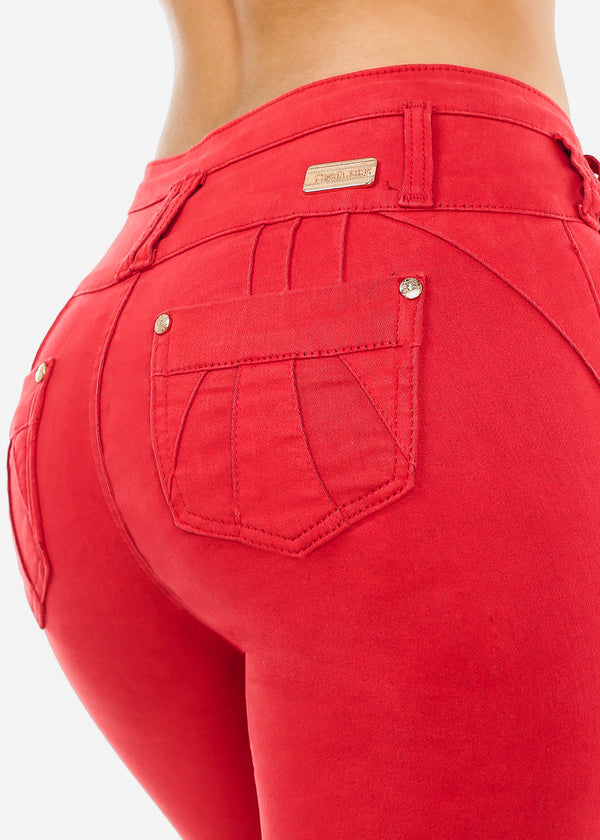 High Rise Butt Lifting Red Skinny Jeans