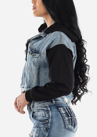 Fleece Sleeve Hooded Denim Jacket