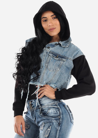 Image of Fleece Sleeve Hooded Denim Jacket