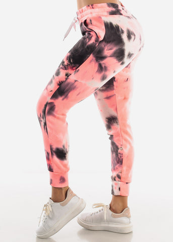 Image of Coral Tie Dye Sweatpants