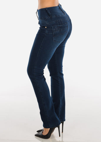 Dark Blue Wash Butt Lifting Bootcut Jeans