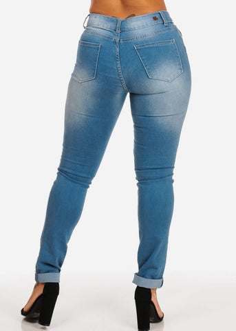 Med Wash Distressed Skinny Jeans