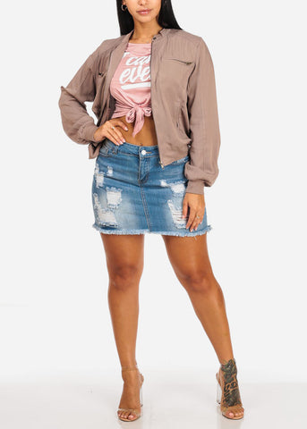 Distressed Hem Light Wash Mini Skirt