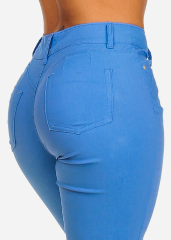 Image of Butt Lifting High Rise Light Blue Capris
