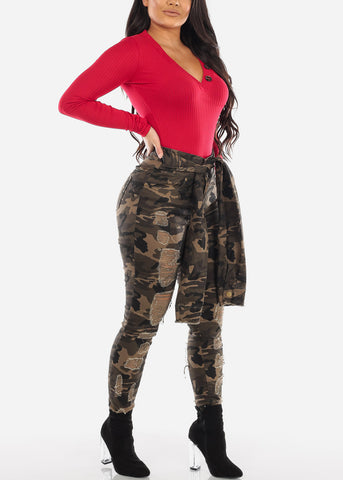 Image of Wrap Waist Distressed Camo Jeans