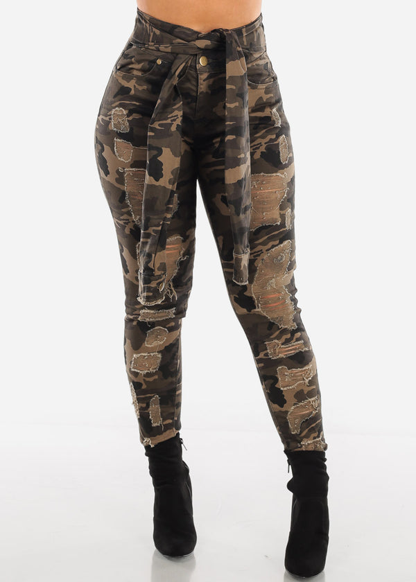 Wrap Waist Distressed Camo Jeans