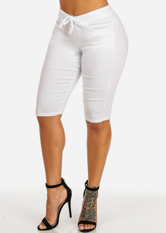 High Waist Slim Fit White Capri Shorts
