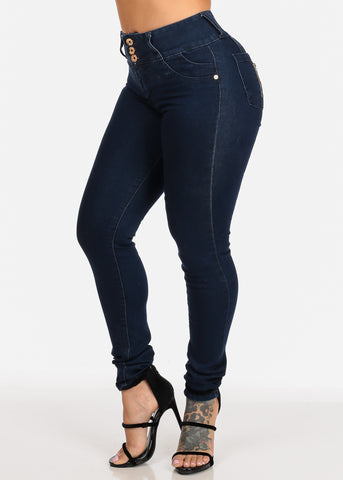 Image of Dark Wash 3 Button Closure High Waisted Butt Lifting colombian Design Skinny Jeans