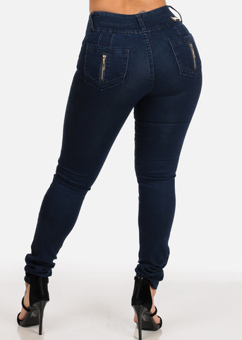 Dark Wash 3 Button Closure High Waisted Butt Lifting colombian Design Skinny Jeans