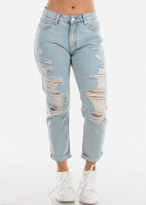 Light Wash Distressed Boyfriend Jeans