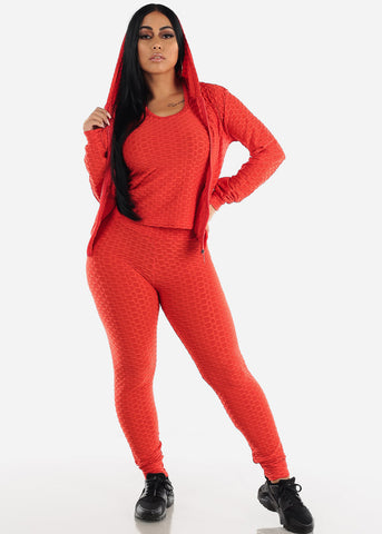 Image of Anti Cellulite Red Top Jacket & Leggings  (3 PCE SET)