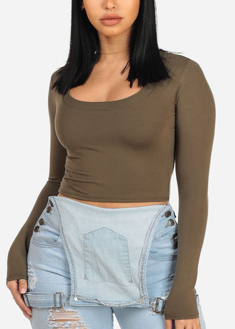 Essential Olive Crop Top