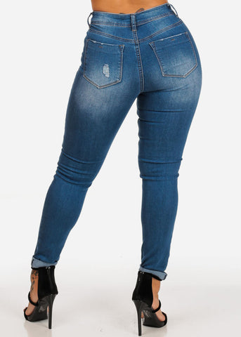 Image of High Waisted Distressed Ankle Skinny Jeans