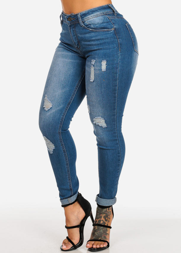 High Waisted Distressed Ankle Skinny Jeans