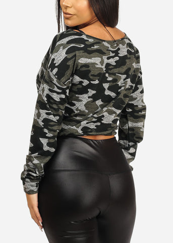 Drawstring Hem Camo Print Crop Top