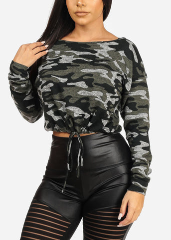 Image of Drawstring Hem Camo Print Top