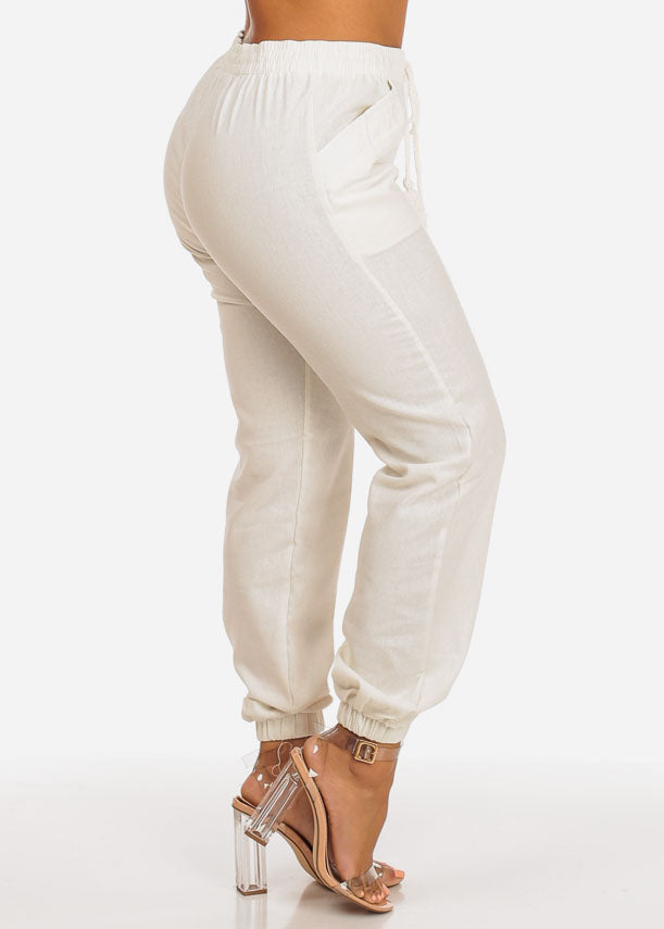 High Rise Ivory Skinny Linen Pants