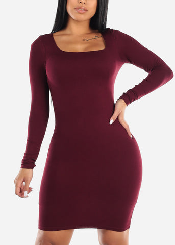 Long Sleeve Burgundy Midi Dress