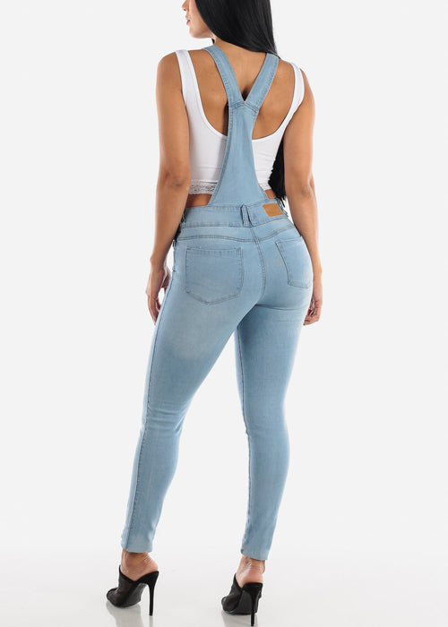 Sleeveless Light Wash Denim Overall