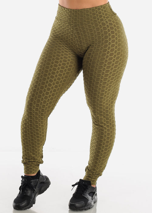 Anti Cellulite Olive Top Jacket & Leggings  (3 PCE SET)