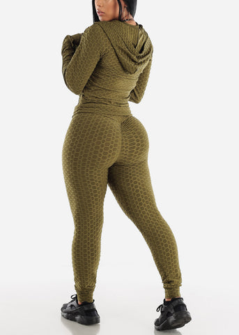 Image of Anti Cellulite Olive Top Jacket & Leggings  (3 PCE SET)