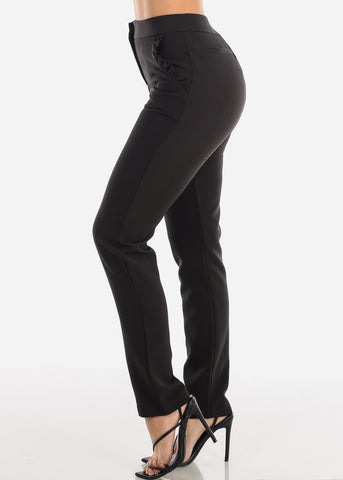 High Rise Straight Leg Black Dress Pants