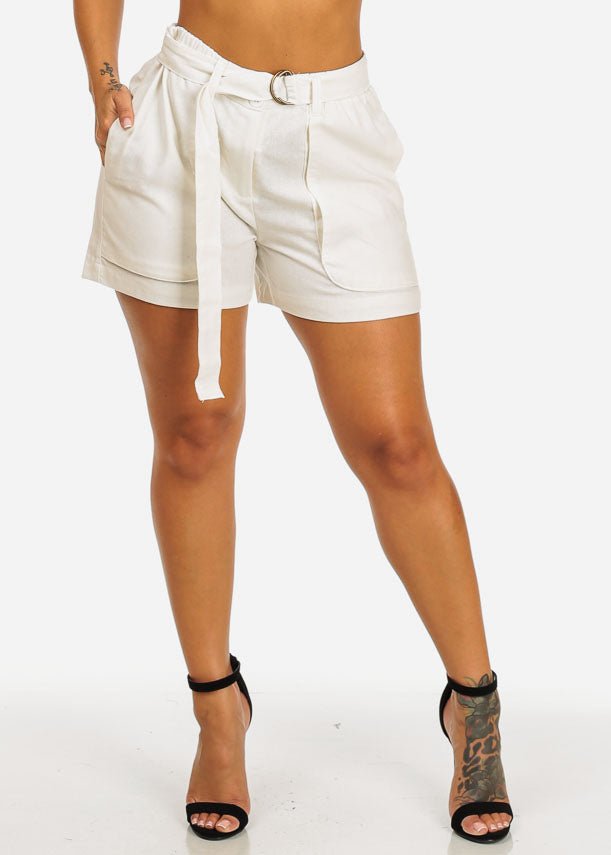Belted High Rise White Linen Shorts