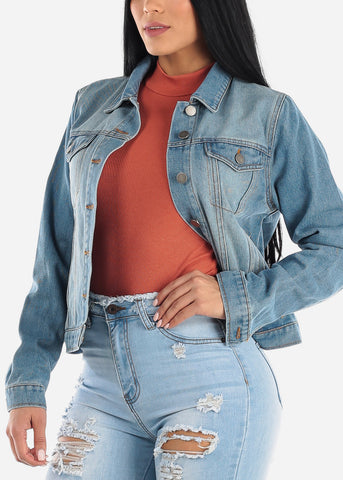 Image of Long Sleeve Med Wash Denim Jacket