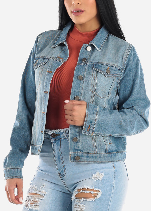Long Sleeve Med Wash Denim Jacket