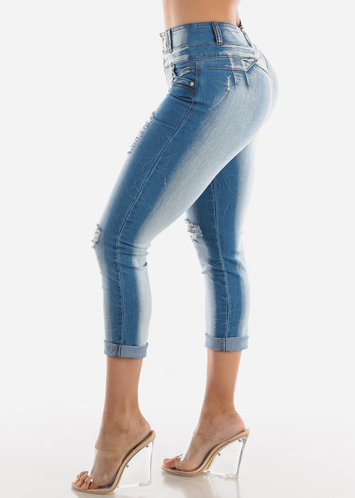 Light Wash Butt Lifting Torn Skinny Ankle Jeans