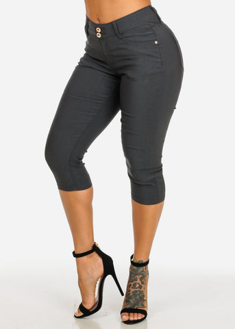 Image of Butt Lifting High Rise Dark Grey Capris