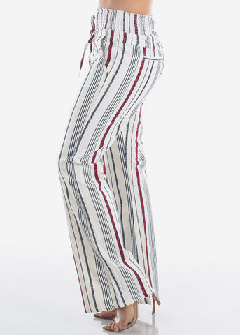 Cute Lightweight Linen Red And White Stripe High Waisted Boho Style Wide Legged Pants For Women Ladies Junior