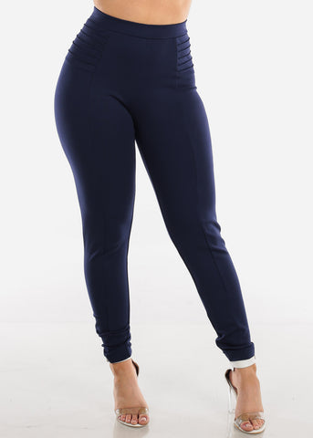 High Rise Navy Dressy Skinny Pants