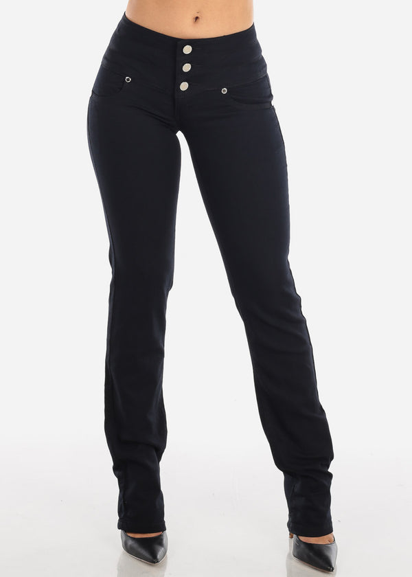 Mid Rise Butt Lifting Black Bootcut Jeans
