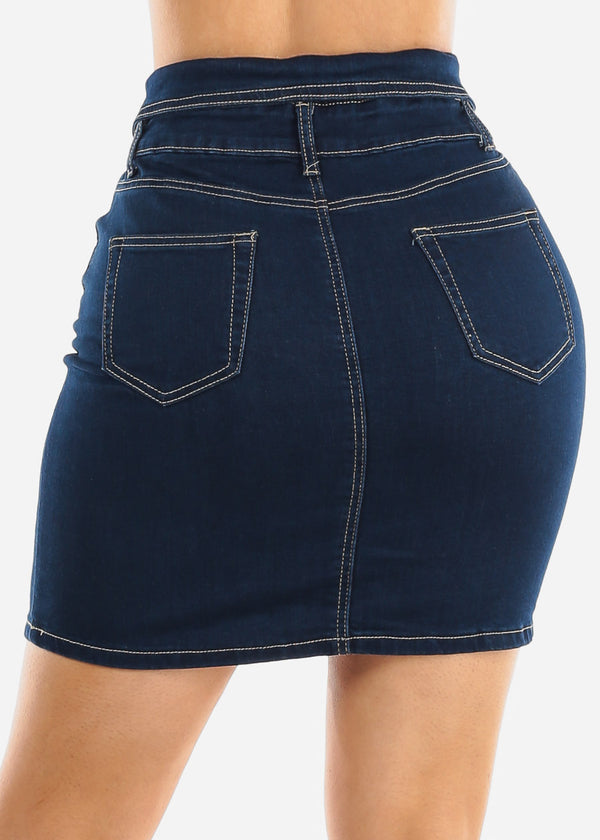 Dark Wash Denim Mini Skirt