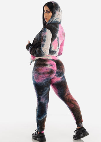 Anti Cellulite Tie Dye Fuchsia Top Jacket & Leggings  (3 PCE SET)
