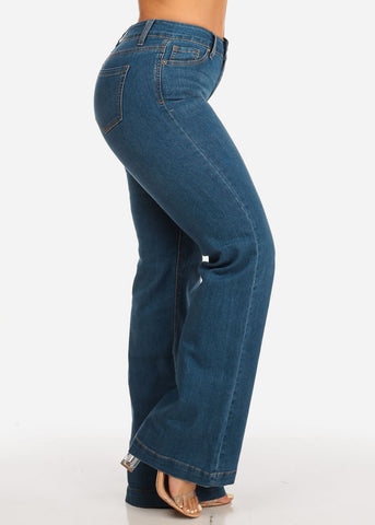 Image of High Rise Med Wash Flare Jeans