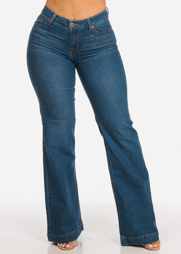 High Rise Med Wash Flare Jeans
