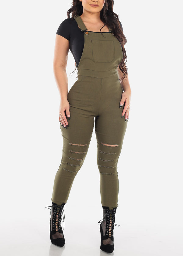 Distressed Olive Overall